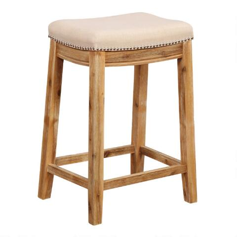 Pleasant Natural Linen Mia Upholstered Counter Stool Gmtry Best Dining Table And Chair Ideas Images Gmtryco