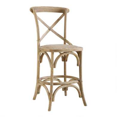 Gray Wood and Rattan Syena Counter Stool