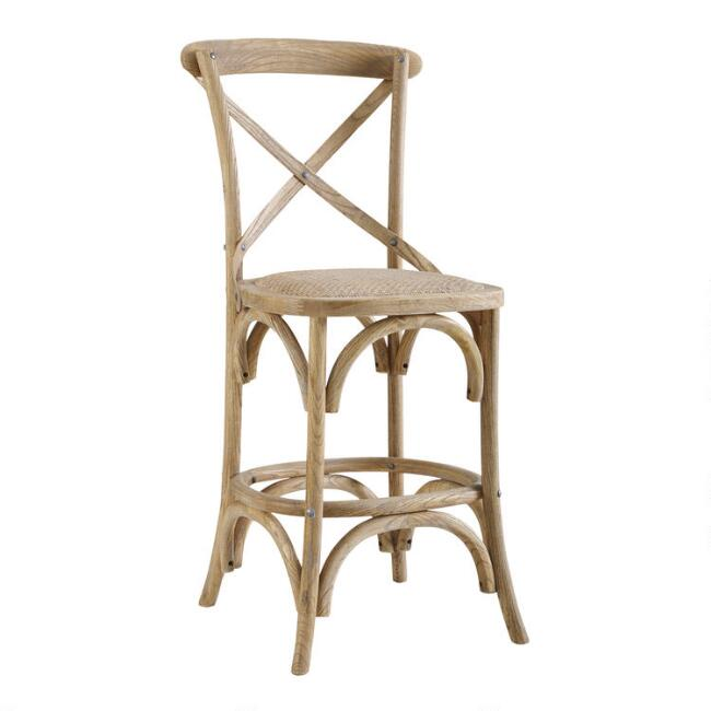 Gray Wood and Rattan Syena Counter Stool - Come discover more French Farmhouse Decor inspired by Fixer Upper and click here to Get the Look of The Club House Kitchen & Sun Room. #fixerupper #joannagaines #kitchendecor #frenchfarmhouse