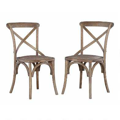 Gray Wood and Rattan Syena Side Chairs Set of 2