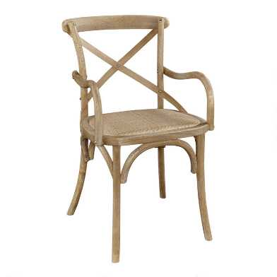 Gray Wood and Rattan Syena Armchair