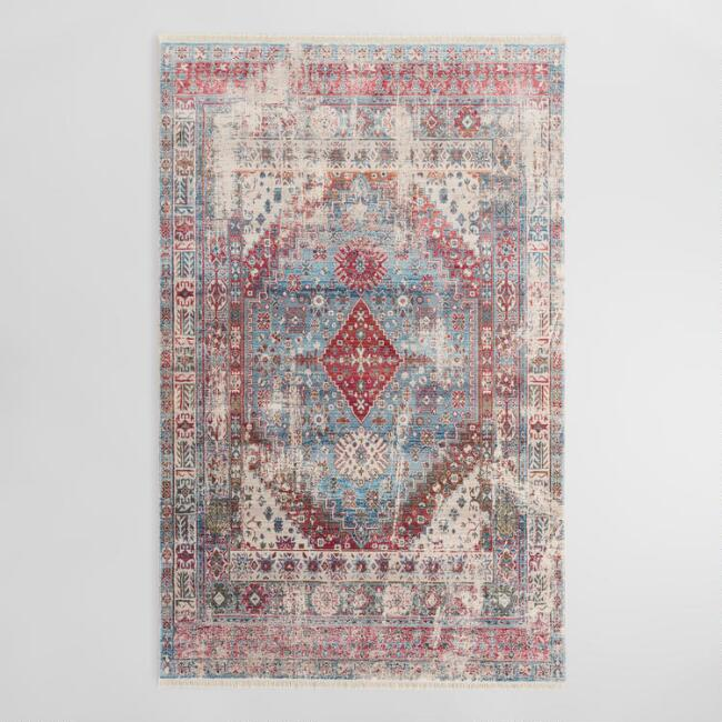 Blue Geometric Medallion Persian Style Area Rug