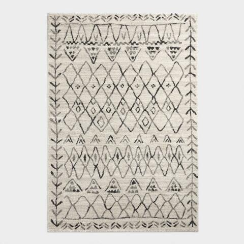 Ivory And Black Moroccan Style Shag Area Rug World Market
