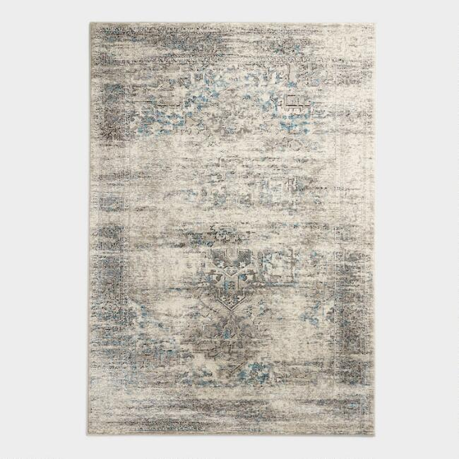 Ivory and Blue Abstract Medallion Area Rug