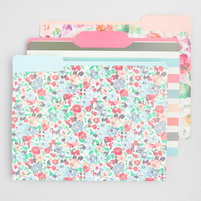 Floral and Stripe File Folders Set of 6