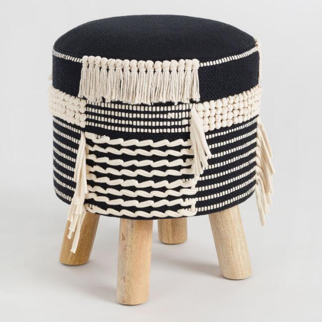 Black and White Stool with Tassels