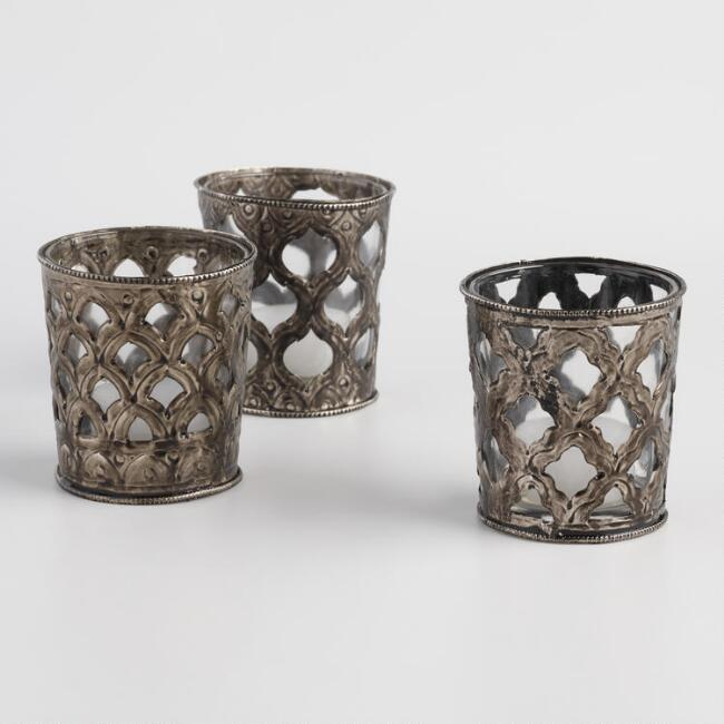 Small Bronze Scroll Tealight Candleholders Set of 3