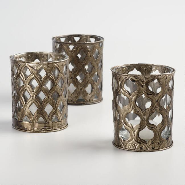 Large Bronze Scroll Tealight Candleholders Set of 3
