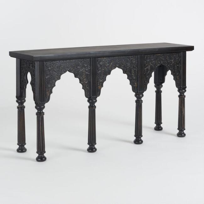 Espresso Carved Arch Console Table
