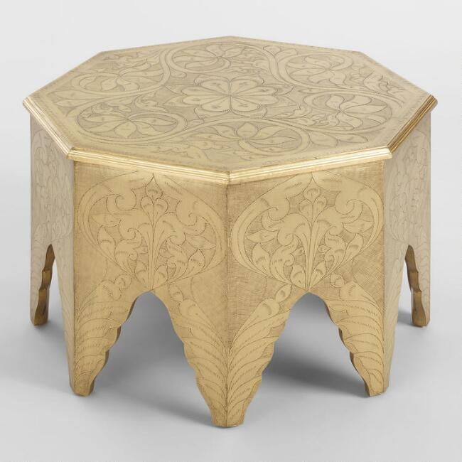 Octagonal Embossed Brass Coffee Table