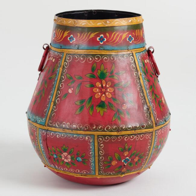Red Hand Painted Metal Floral Pot