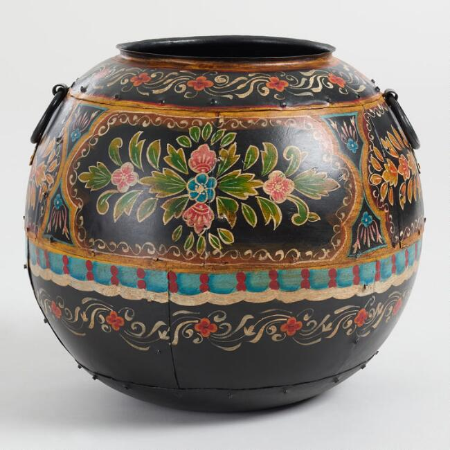 Black Hand Painted Metal Floral Pot