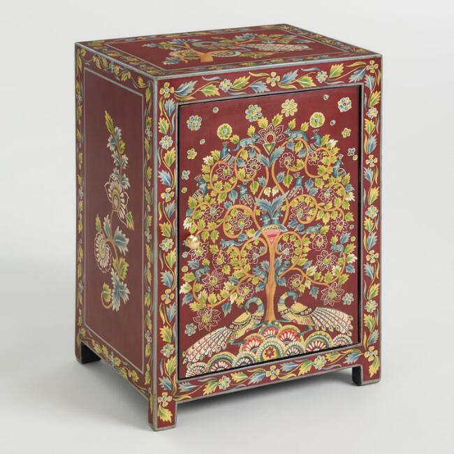 Red Hand Painted Wood Peacock Cabinet