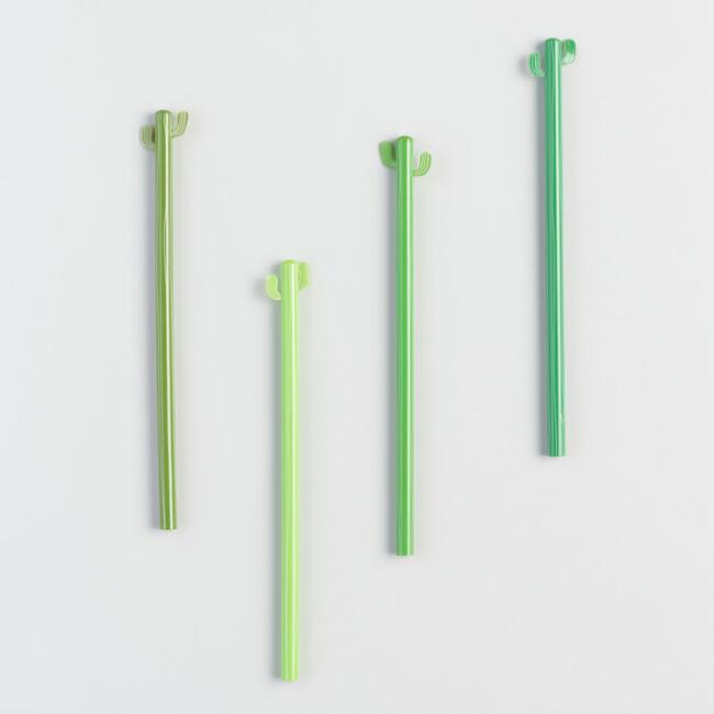 Green Cactus Pencils Set of 4