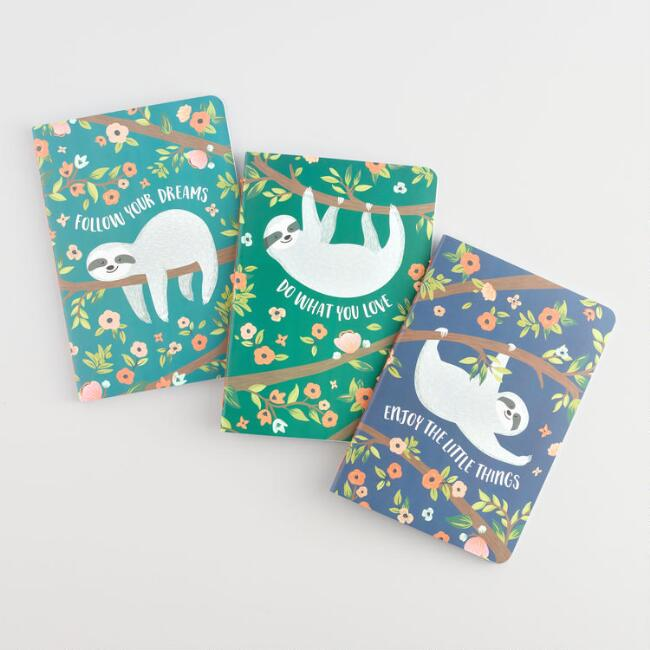 Sloth Floral Notebooks Set of 3