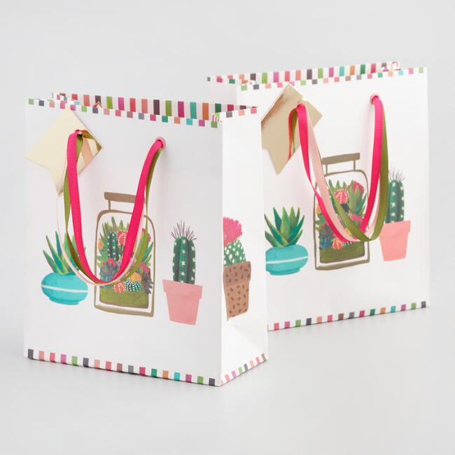 Small White Cactus Kraft Gift Bag Set of 2