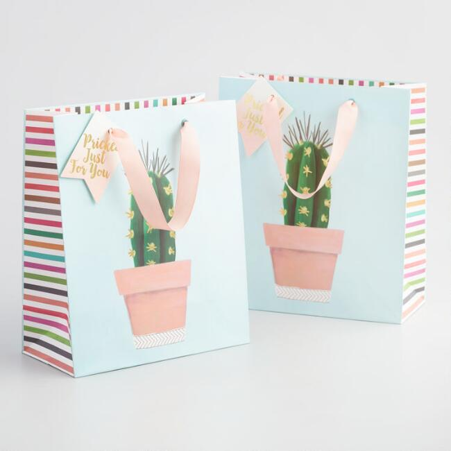 Medium Blue Pricked Just For You Cactus Kraft Gift Bag