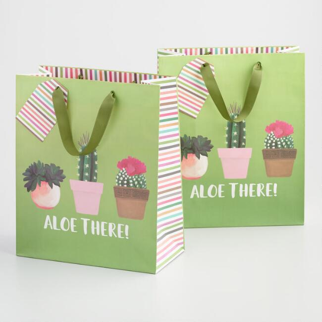 Large Green Aloe There Cactus Kraft Gift Bag