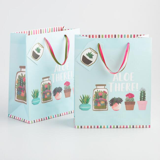 Large Light Blue Aloe There Cactus Kraft Gift Bag