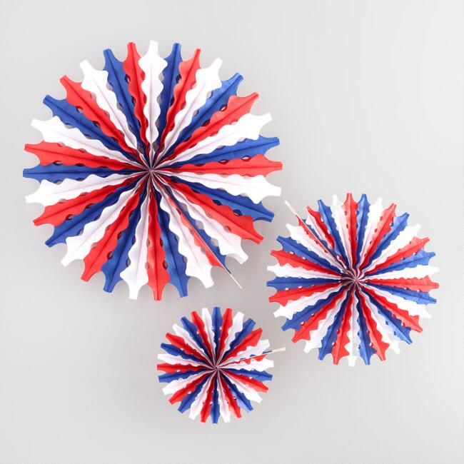 Red White and Blue Honeycomb Tissue Fans Set of 3