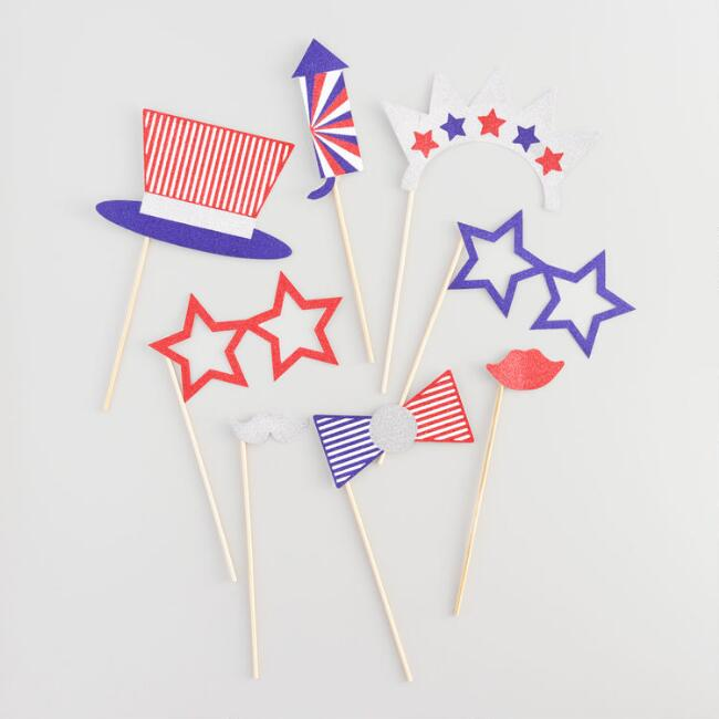Red White and Blue Photo Props Set of 8