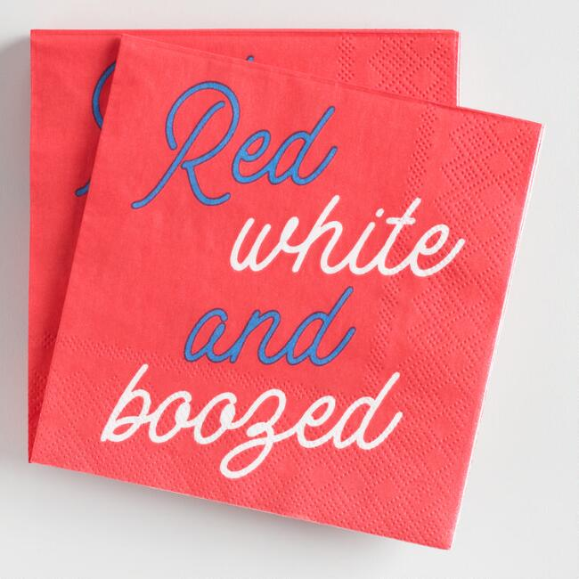 Red White and Boozed Beverage Napkins 20 Count