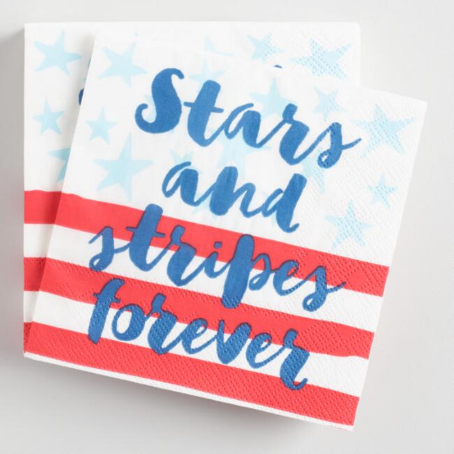 Stars and Stripes Forever Beverage Napkins 20 Count