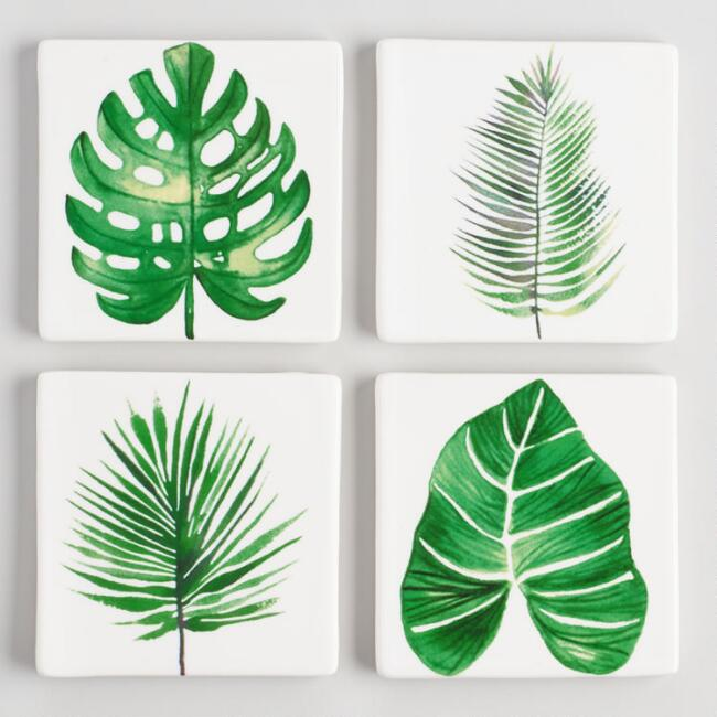 Botanical Leaf Ceramic Coasters Set of 4