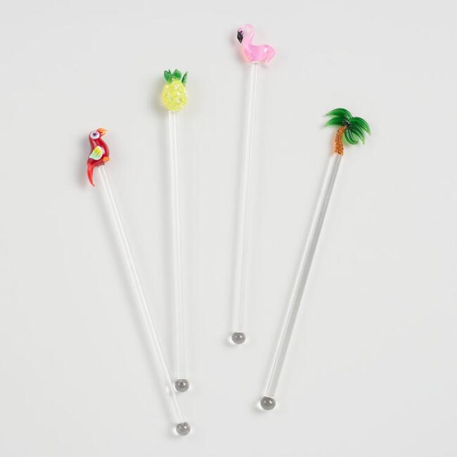 Glass Tropical Stir Sticks Set of 4