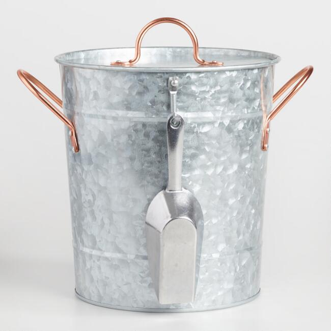 Galvanized Metal and Copper Ice Bucket with Scoop