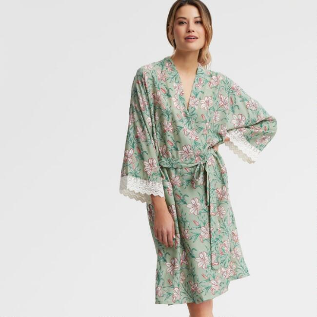 Mint and Coral Floral Valerie Robe with Lace Trim