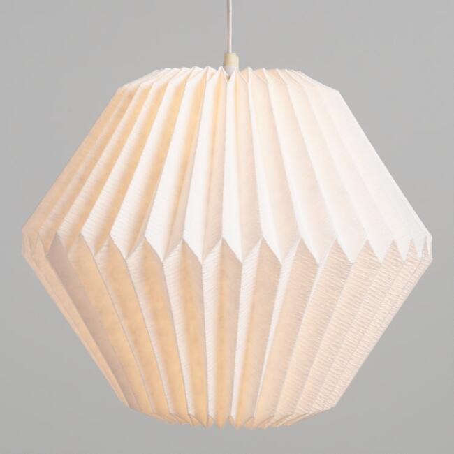 White Origami Diamond Crinkle Cotton Paper Lantern