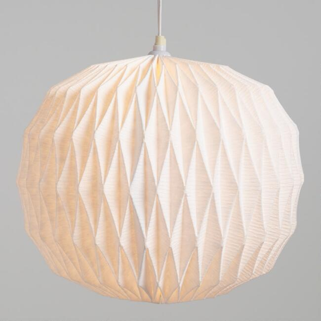 White Origami Round Crinkle Cotton Paper Lantern World