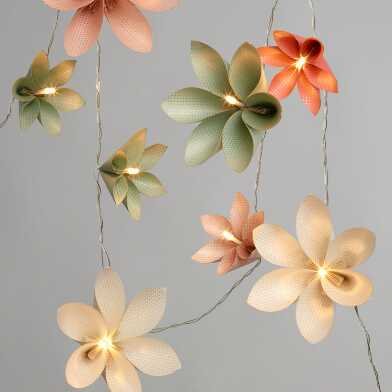 Origami Flowers LED 10 Bulb Battery Operated String Lights