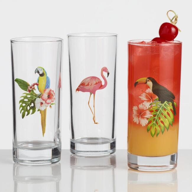 Glass Bird Highball Glasses Set of 3