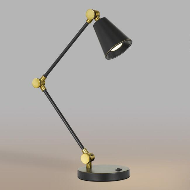 Dark Bronze and Gold LED Adjustable Logan Task Desk Lamp