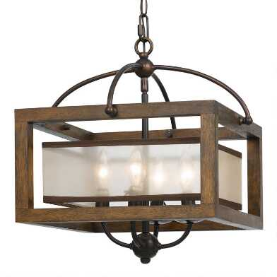 Wood and Bronze 4 Light George Pendant Lamp
