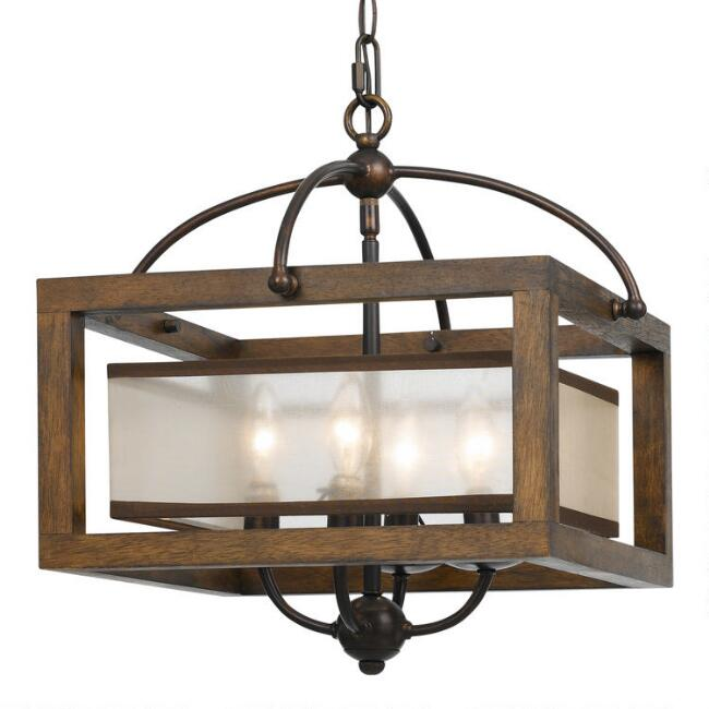 Wood and Dark Bronze Semi Flush 4 Light George Pendant