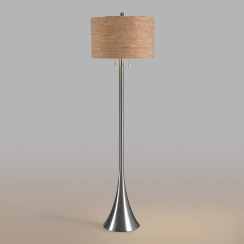 Brushed Steel 2 Light Floor Lamp And