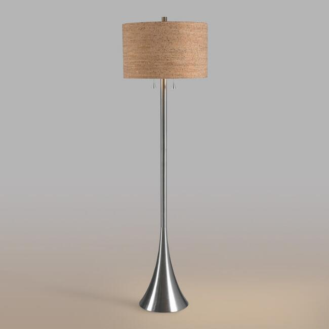Brushed Steel 2 Light Floor Lamp and Cork Shade Set