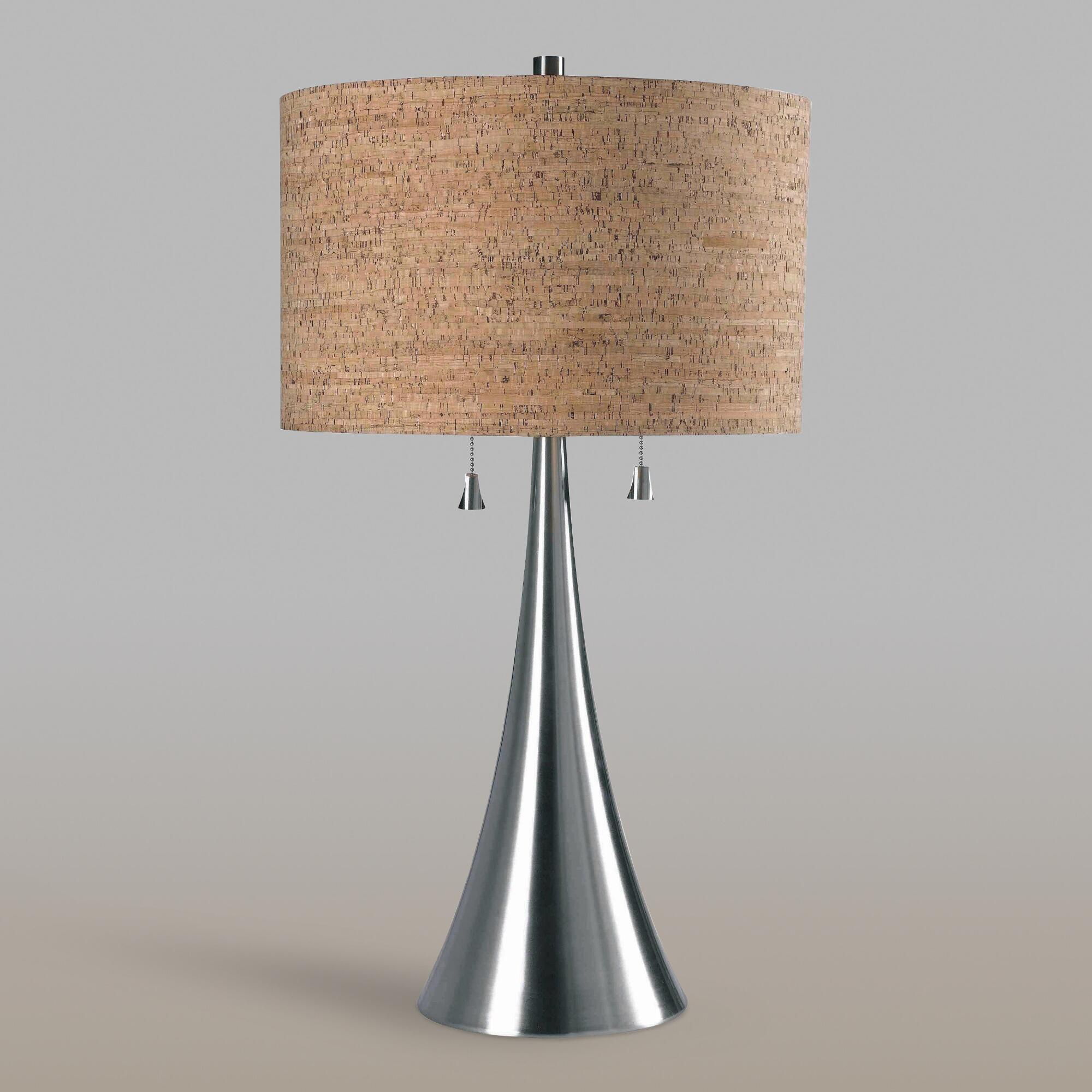 Brushed Steel 2 Light Table Lamp and Cork Shade Set by World Market