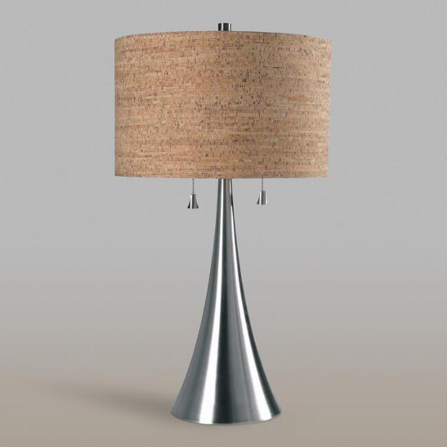 Brushed Steel 2 Light Table Lamp and Cork Shade Set