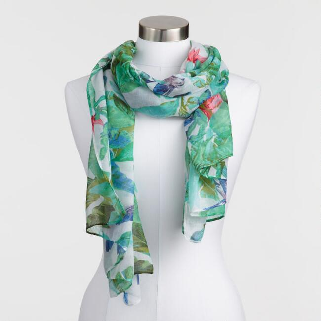 Tropical Palm Print Scarf
