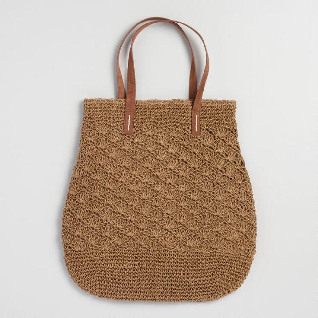 Tobacco Brown Straw Tote Bag