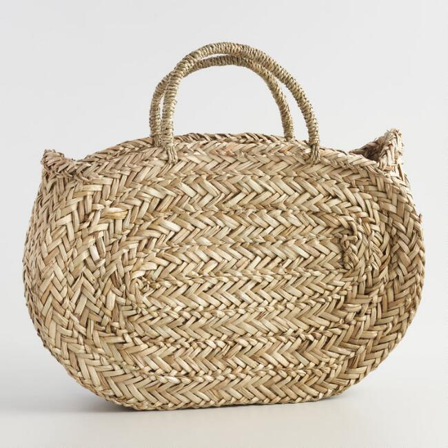 Natural Oval Oblong Straw Tote Bag