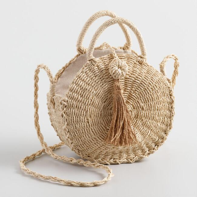Natural Straw Circle Crossbody Bag with Tassel