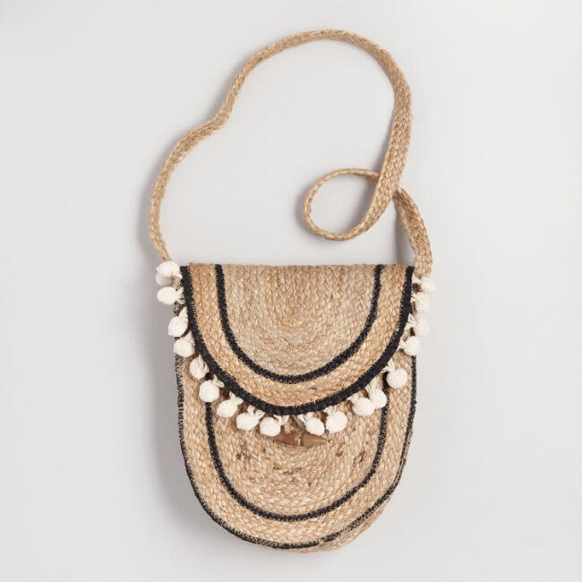 Natural Jute Pom Pom Crossbody Bag