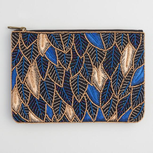 Gold And Blue Beaded Leaf Pouch