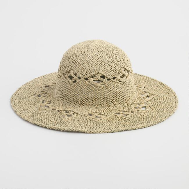 Natural Open Weave Straw Sun Hat