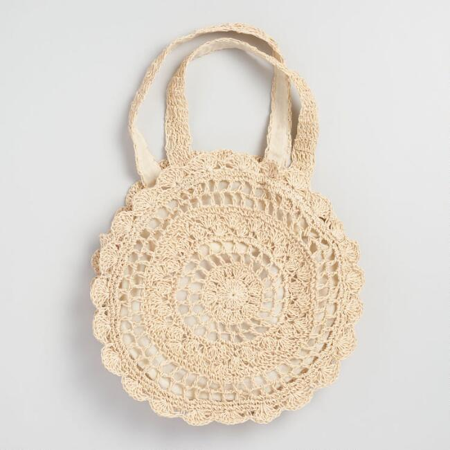 Natural Circle Straw Tote Bag